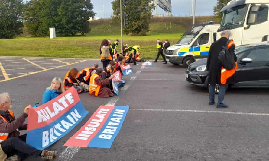 Protesters block the M25 at junction 31, near to the Dartford Crossing, in Thurrock, Essex.