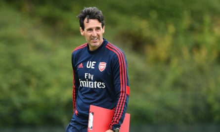 Unai Emery during a training session at London Colney