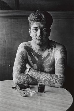 Jack Dracula at a bar, New London, Conn., 1961, by Diane Arbus