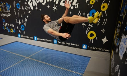 Corporate visitors joining the craze for trampolining during a team visit to Oxygen Freejumping centre in Manchester.
