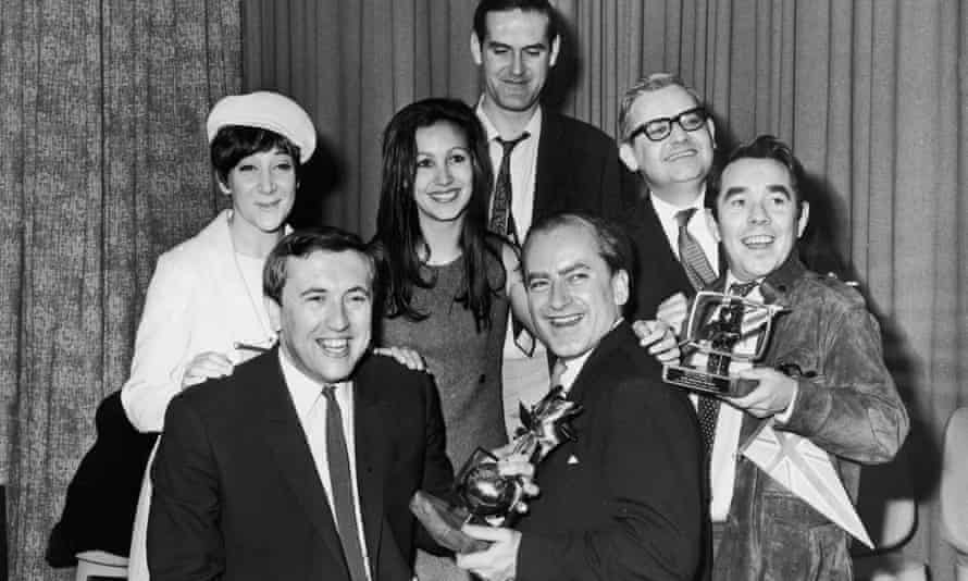 James Gilbert, front right, with cast members of the The Frost Report, left to right, Sheila Steafel, David Frost, Julie Felix, John Cleese, Ronnie Barker and Ronnie Corbett after the show won the Golden Rose of Montreux in 1967.