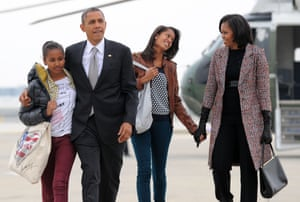 'His solace': the Obamas board Air Force One in Chicago, November 2012