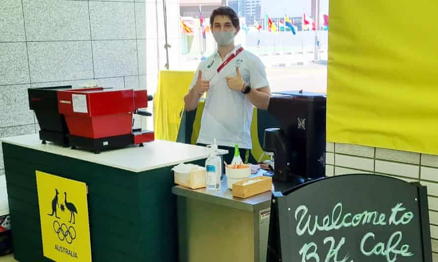 Elliot Johnson, a barista from Melbourne, makes around 600 coffees for Australia's Olympic athletes in Tokyo each day.