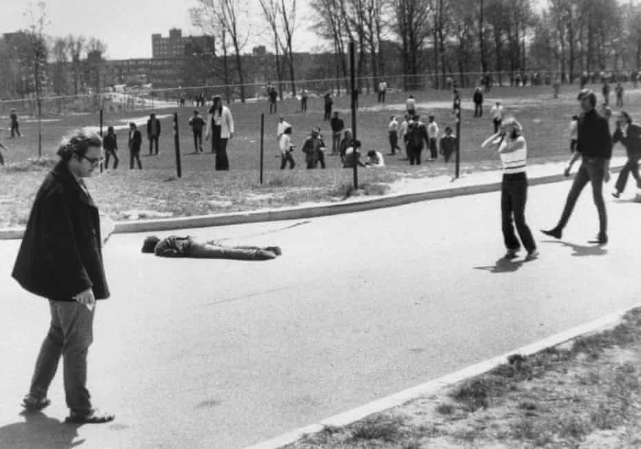 Kent State University student reacts to the death of a protester killed by national guardsmen during the anti-war protest.