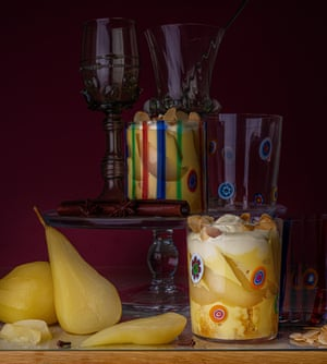 Boozy poached pear trifle by Ravneet Gill