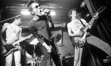 Glen Matlock, Johnny Rotten and Steve Jones in 1977, the year the Sex Pistols were dropped by EMI.