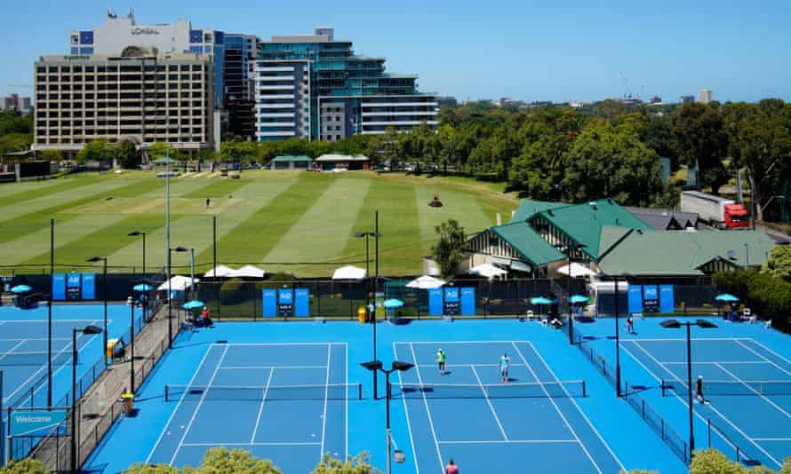Australian Open tennis players train in a restricted area near their Melbourne accommodation. A total of 72 players remain in hard lockdown and are not allowed out of their hotel room to train for five hours a day like other quarantining players.