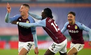 Ross Barkley (left) celebrates after scoring for Aston Villa against Leicester.