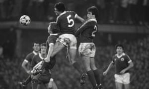 Everton's Kevin Ratcliffe, No2, and Mick Lyons keep Liverpool at bay during the 1981 FA Cup fourth-round tie at Goodison Park.