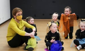 Nicola Sturgeon at Empire School of Dance in Airdrie while campaigning today for the Airdrie and Shotts Westminster by-election. The byelection is taking place tomorrow, and was triggered when the SNP's Neil Gray resigned so he could stand as a candidate in the Holyrood election. He is now an MSP.