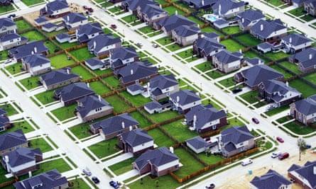 An aerial view of Houston's urban sprawl in Texas.