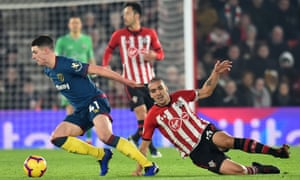 Declan Rice turns away from Southampton's Oriol Romeu in what was an impressive performance by the West Ham midfielder.