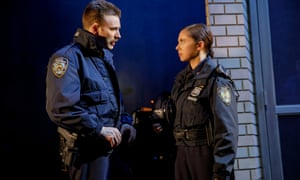 Chris Evans and Bel Powley in Lobby Hero.