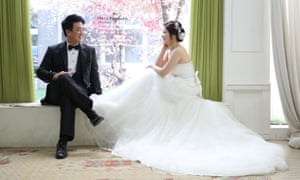 North Korean Kim Jeong-soon and South Korean Kim Jong-il on their wedding day in 2016.