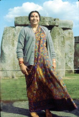 Shri Mataji Nirmala Devi at Stonehenge in 1980 by Vivienne Thompson.