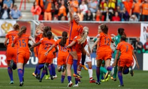 Jackie Groenen and her Netherlands teammates celebrate winning the Euro 2017 final.