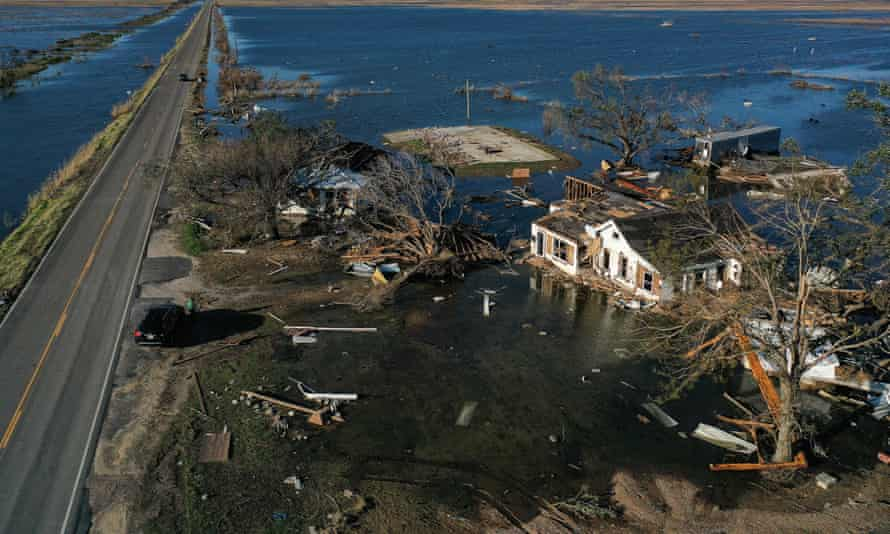 Flood waters from Hurricane Delta in October surround buildings that were destroyed by Hurricane Laura in August in Creole, Louisiana.