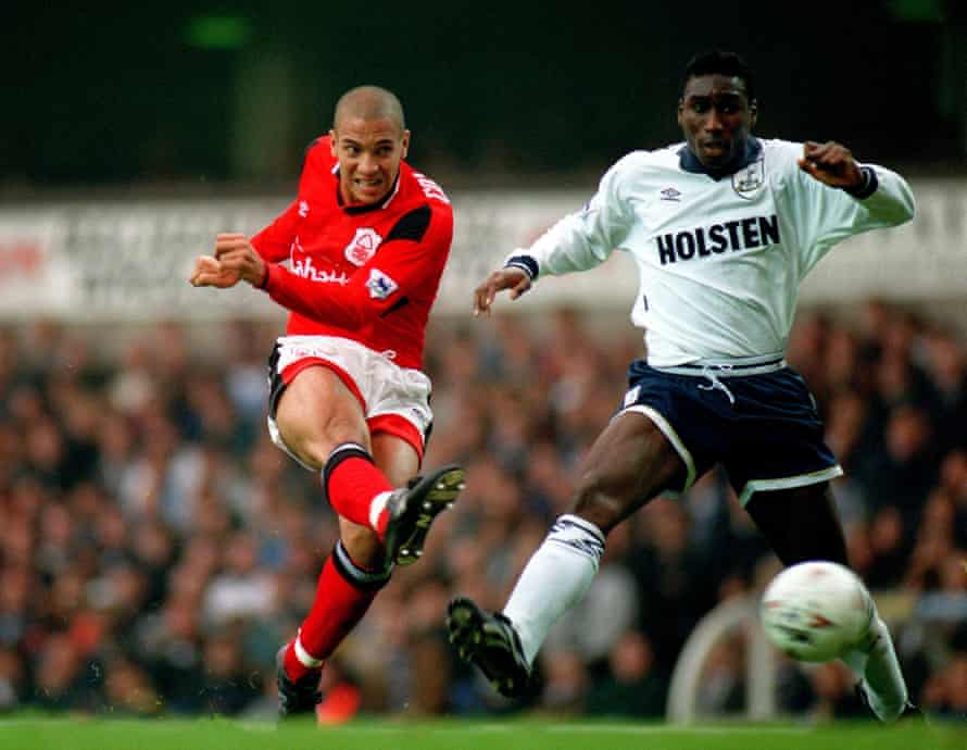 Collymore evades the challenge of Sol Campbell during Nottingham Forest's match against Tottenham Hotspur in September 1994. Collymore believes the former defender has been unfairly prevented from getting a job in management.