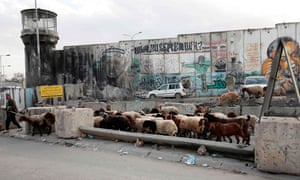 Israel's controversial separation barrier at the Qalandia crossing between the Palestinian city of Ramallah in the occupied West Bank and annexed east Jerusalem, December 2020.