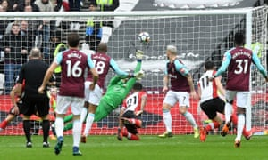 Joao Mario's effort beats Alex McCarthy in the Southampton goal to put West Ham ahead.