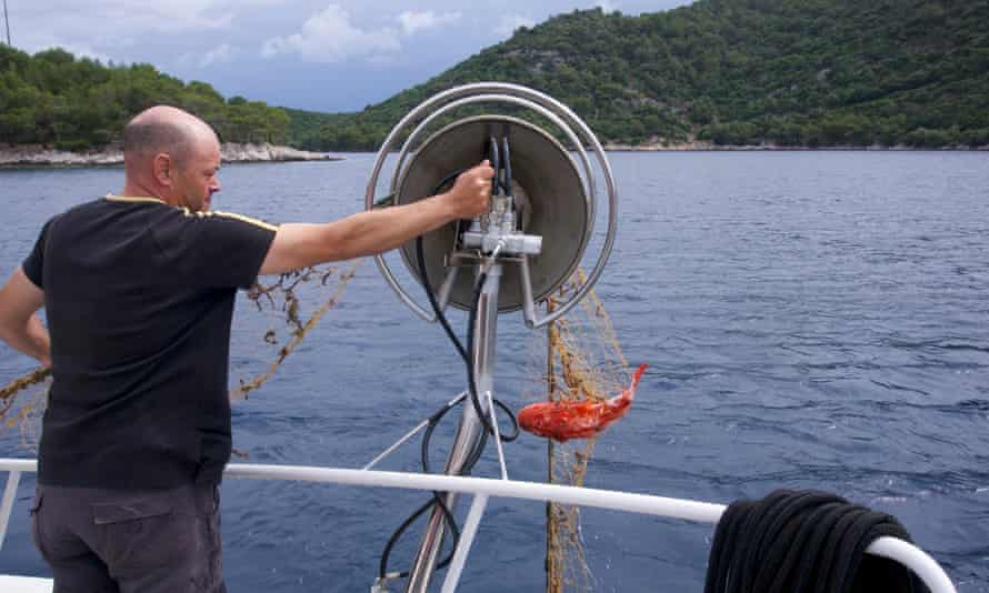 Lastovo fisherman on boat