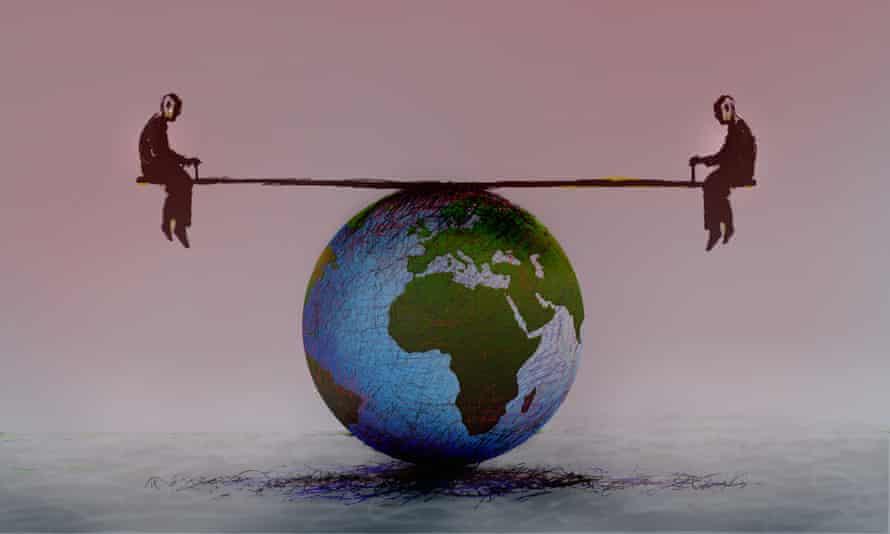 Men balanced on seesaw over globe