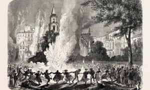 Citizens of Marseille dance around a fire that has been lit to destroy the pestilence during the city's cholera epidemic in 1865