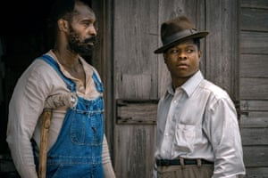 Rob Morgan and Jason Mitchell as Hap Jackson and Ronsel Jackson in Mudbound.