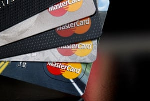 FILE - In this Thursday, April 25, 2013, file photo, MasterCard credit cards are displayed for a photographer in Montpelier, Vt. MasterCard Inc. reports financial results Thursday, July 27, 2017. (AP Photo/Toby Talbot, File)