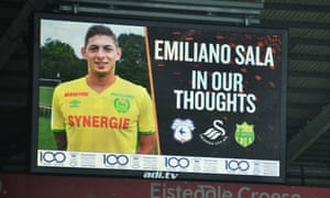 A tribute to Emiliano Sala is displayed during the FA Cup fourth round match at the Liberty Stadium, Swansea