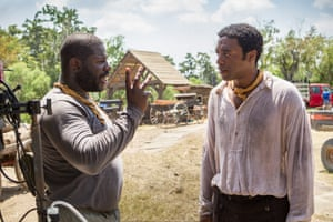 McQueen with Chiwetel Ejiofor during the filming of 12 Years a Slave