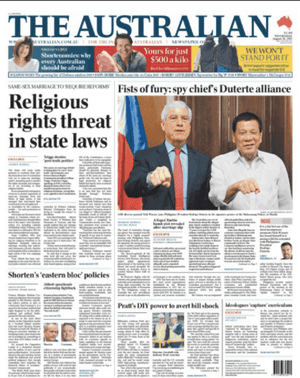 Australian front page