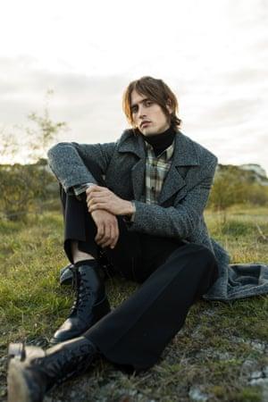 Coat £119, zara.com  Roll neck £22, riverisland.com S hirt £295, Dries Van Noten liberty.co.uk Trousers £69, cosstores.com  Boots £390, trickers.com