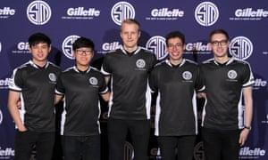 The Gillette-sponsored Team SoloMid at a press conference in LA.