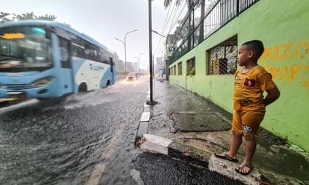 Jakarta, Indonesia. The seasonal rainy season may be exacerbated by the effect of La Niña in south-east Asia.