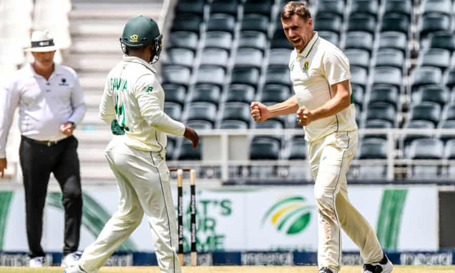 Anrich Nortje celebrates his fifth wicket during the first day of the second Test for South Africa against Sri Lanka