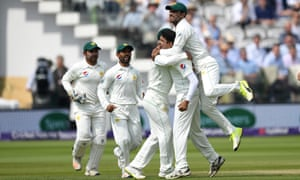 Pakistan celebrates during day four of the 1st NatWest Test match at Lord's Cricket Ground.