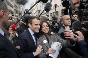 Paris, France Presidential candidate Emmanuel Macron