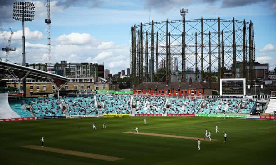 Just 1000 spectator seats were available for the Surrey v Middlesex friendly match at the Oval.