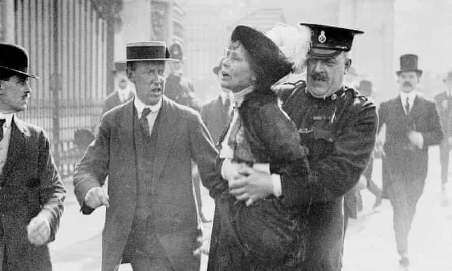 Emmeline Pankhurst being arrested in May 1914.
