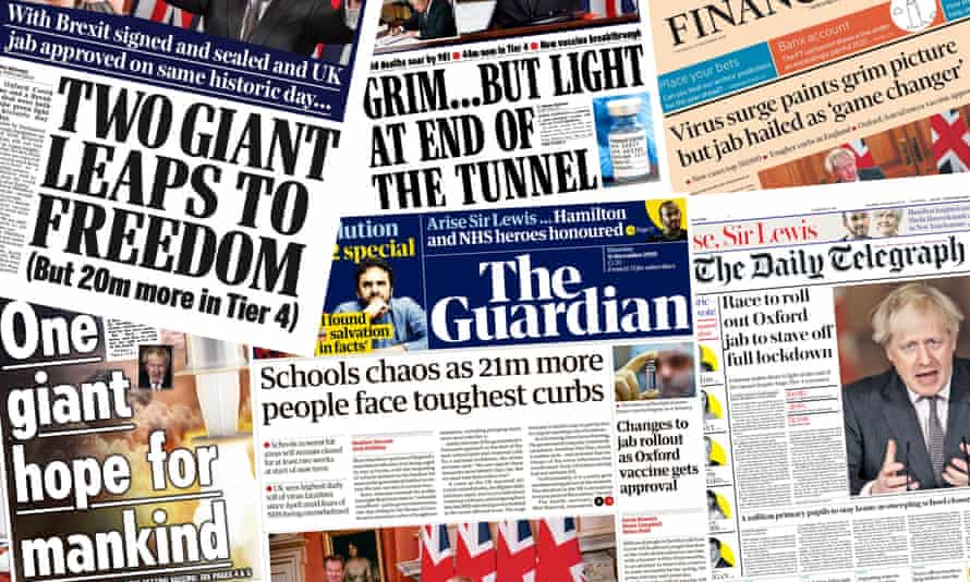 Newspaper front pages on New Year's Eve 2020