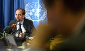 Zeid Ra'ad al-Hussein speaks to the media in Geneva, Switzerland Wednesday.
