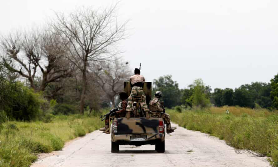 Soldiers patrolling in a jeep in Borno state