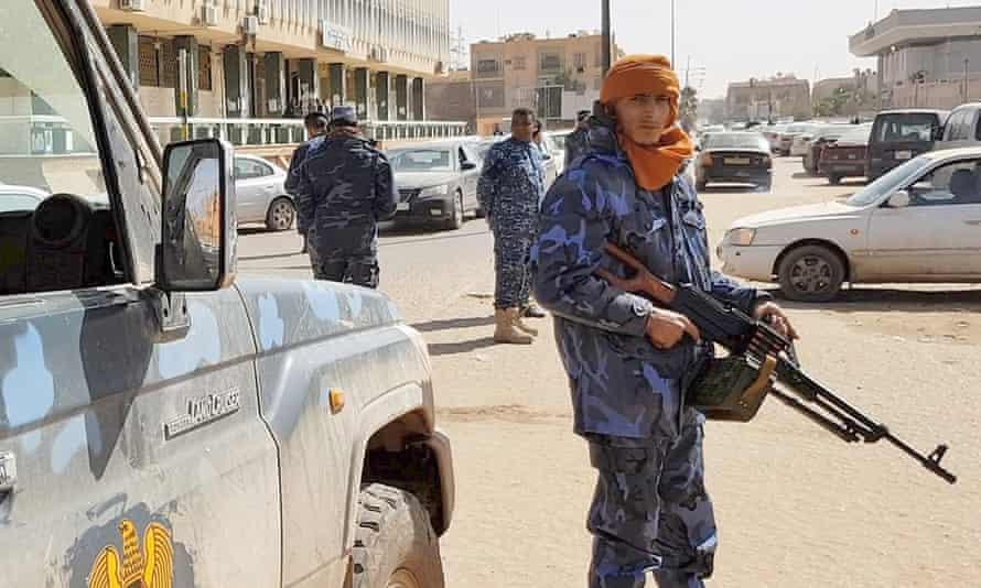 Forces loyal to Libyan strongman Khalifa Haftar on patrol