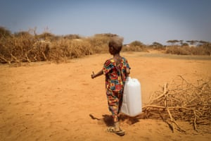A girl in Ethiopia's Somali region carries water back to her family