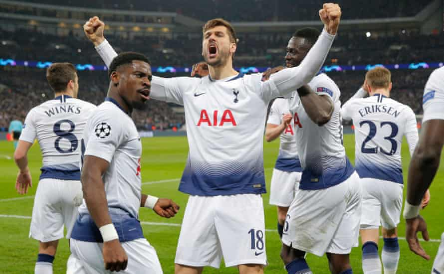Fernando Llorente celebrates after scoring Tottenham's third goal against Dortmund. 'The manager told us at half-time what we needed to do tactically,' said Harry Winks.