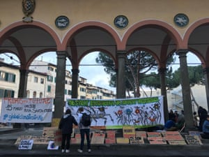 Signs for the climate strikes in Florence, Italy.