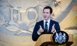 The UK chancellor George Osborne gives a speech