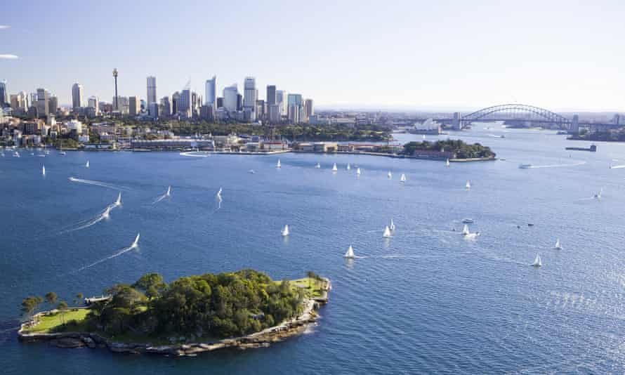 An aerial view of Sydney city and the Harbour Bridge
