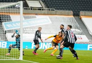 Fabio Silva of Wolverhampton Wanderers has his shot saved by Martin Dubravka goalkeeper of Newcastle United.